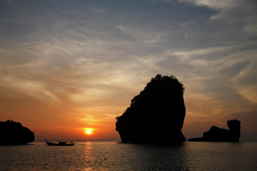 Scenic Photograph - Nui Bay At Sunset At Phi Phi Islands by Massimo Pizzotti