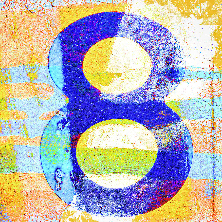 Eight Mixed Media - Number 8 In Yellow And Blue by Carol Leigh