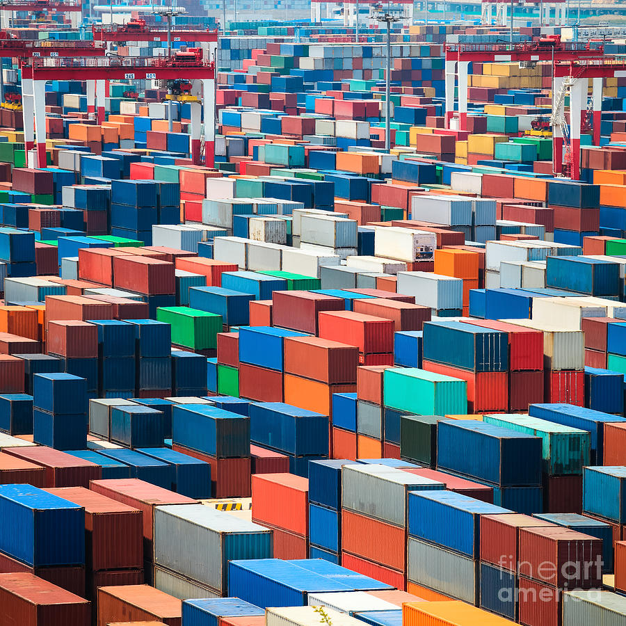 Container Photograph - Numerous Shipping Containers In Port by Chuyuss