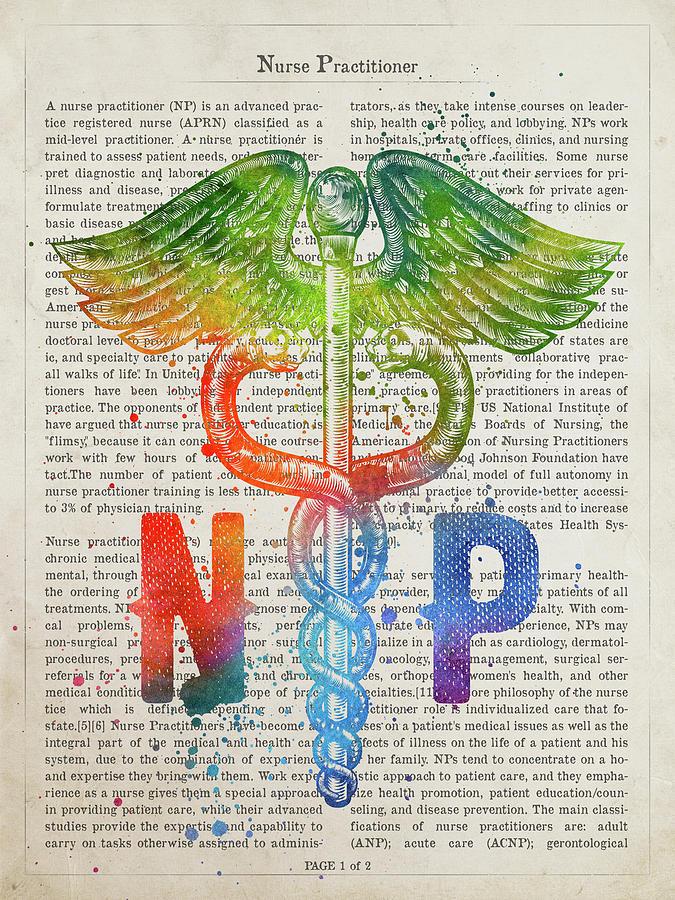Nurse Practitioner Digital Art - Nurse Practitioner Gift Idea With Caduceus Illustration 03 by Aged Pixel