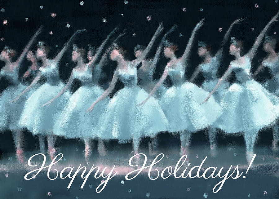 Holiday Cards Painting - Nutcracker Ballet Waltz of the Snowflakes Holiday Card by Beverly Brown