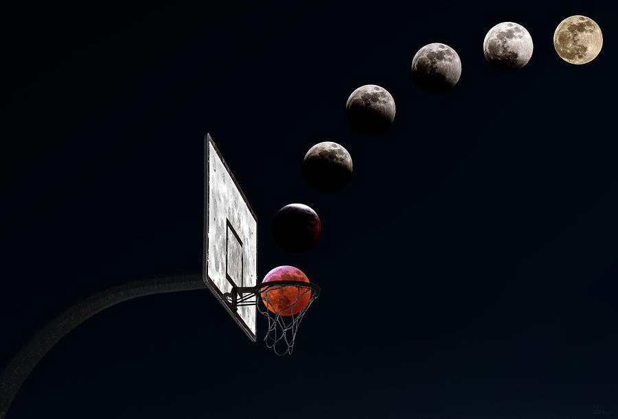 March Madness Lunacy - Blood moon lunar eclipse sequence with basketball hoop - composite by Peter Herman