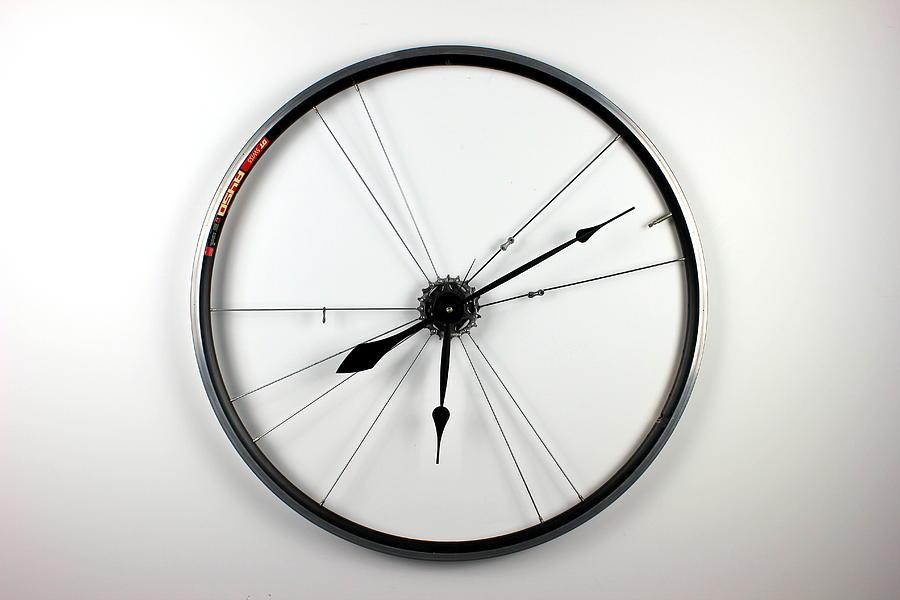 Bike Wheel Sculpture - NuWheel Clock 6.3 by Michael Ediza