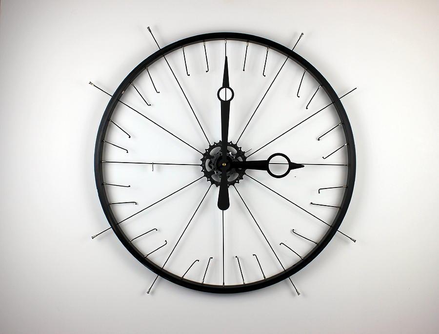 Wall Clock Sculpture - NuWheel Clock 6.0 by Michael Ediza