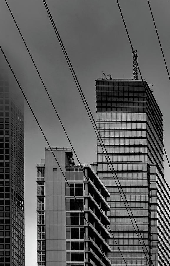 NYC East Side High Rises Fog and Roosevelt Island Tram Cables by Robert Ullmann