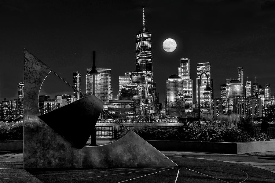 NYC Skyline Harvest Moon BW BW by Susan Candelario