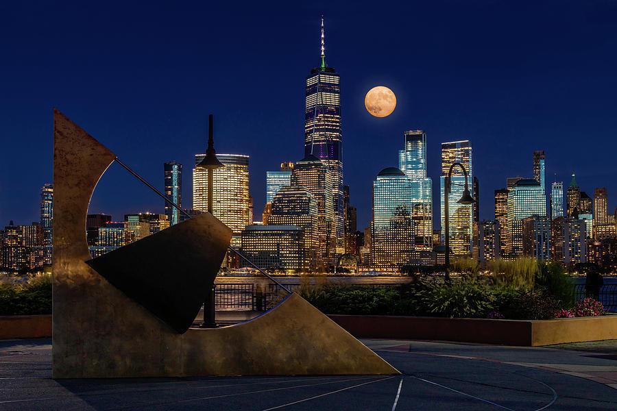 NYC Skyline Harvest Moon by Susan Candelario
