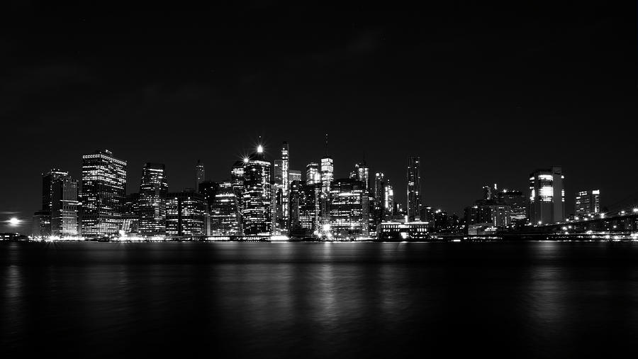 NYC Skyline in Black and White by MARLO HORNE