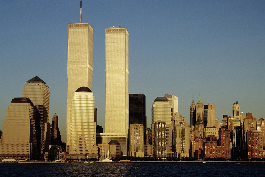 Nyc Skyline With The Twin Towers, From Photograph by Bentrussell