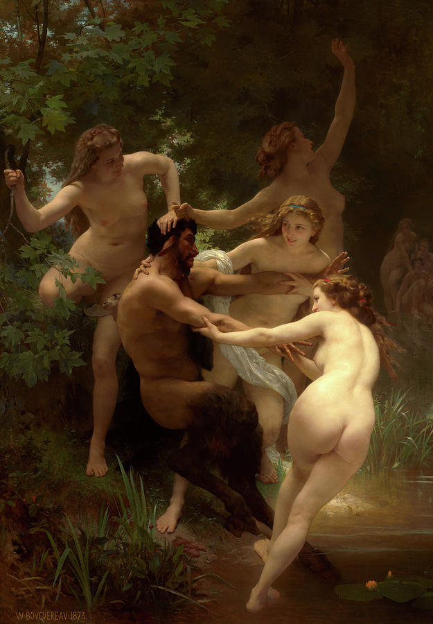 William-adolphe Bouguereau Painting - Nymphs And Satyr, 1873 by Bouguereau