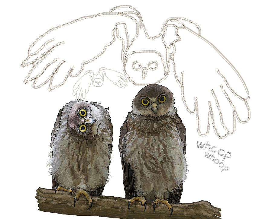 School Digital Art - O Is For Owl by Joan Stratton