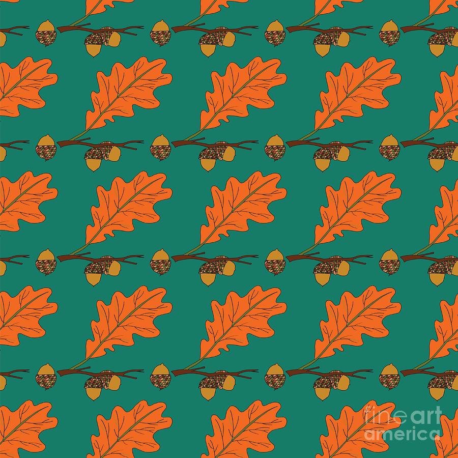 Reports Digital Art - Oak Acorns On The Branch Autumn Red by Istorsvetlana