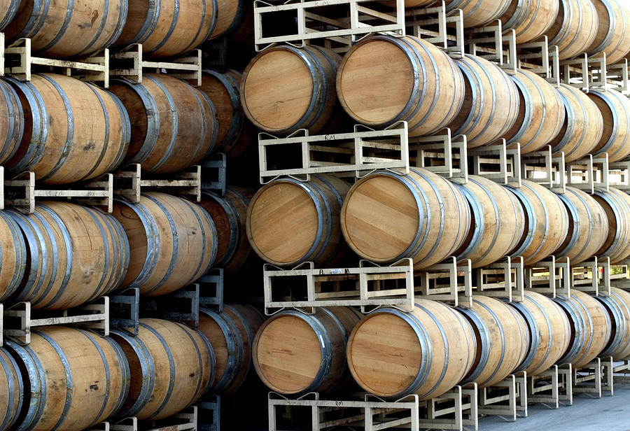 Oak Barrels Stock In Cellar Outdoors Photograph by Swalls
