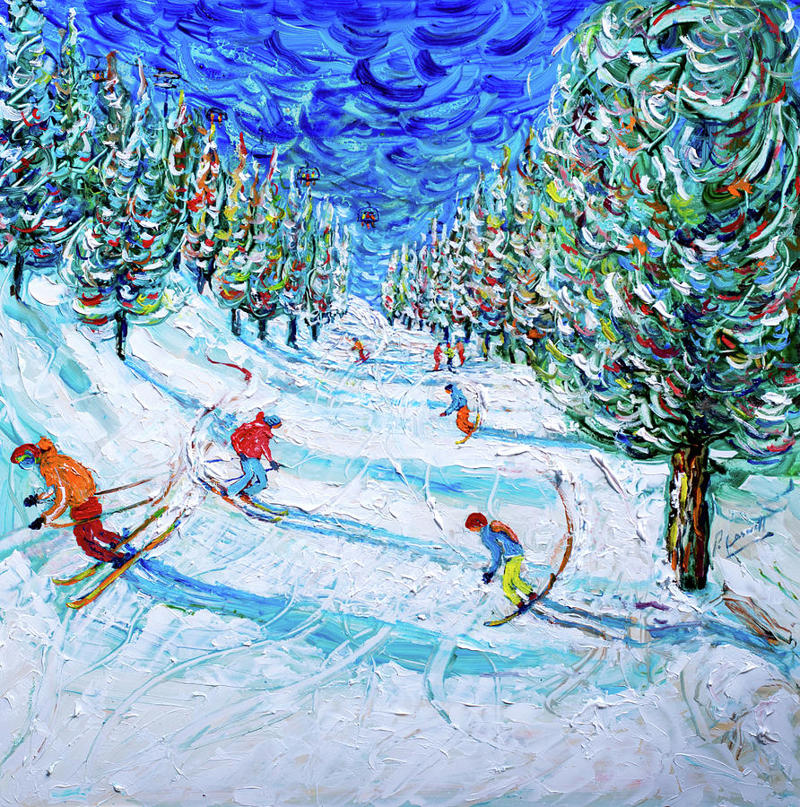 Obergurgl Skiing Print by Pete Caswell