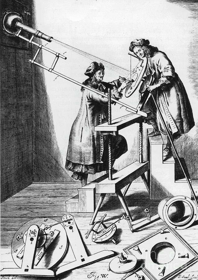 Observing A Solar Eclipse, 1673 Drawing by Print Collector