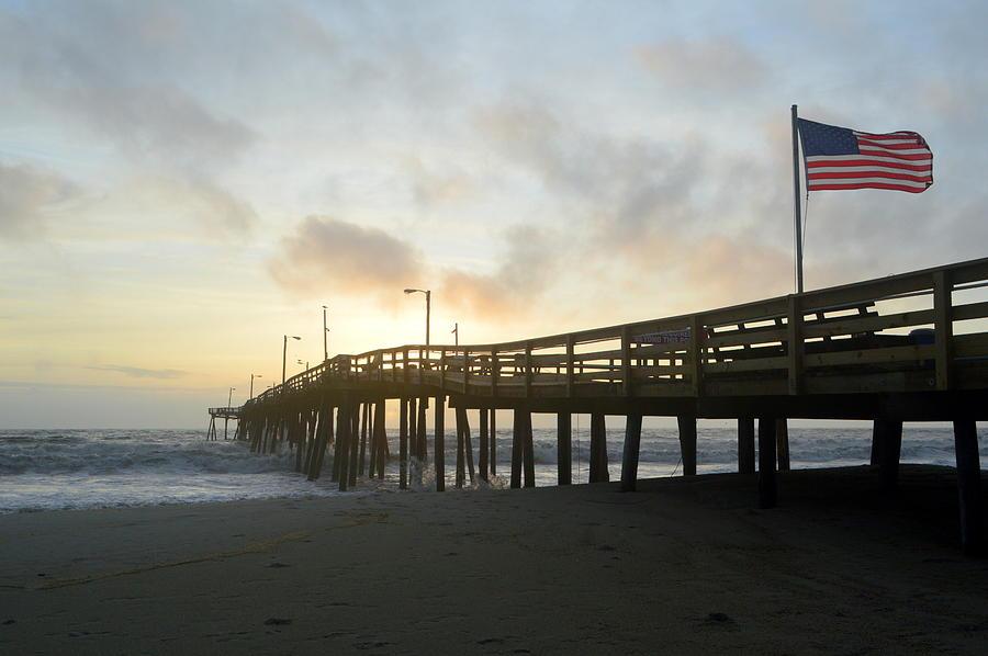 OBX Sunrise NH Fishing Pier by Barbara Ann Bell