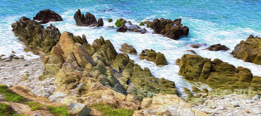 Ocean Rocks In Puerto Vallarta Mexico Digital Art by Kenneth Montgomery