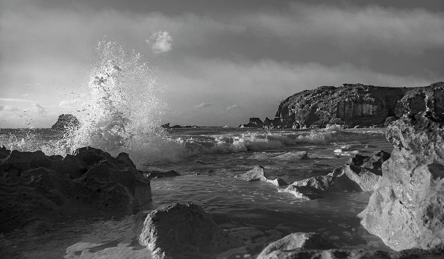 Bermuda Photograph - Ocean Splash In Black And White by Betsy Knapp