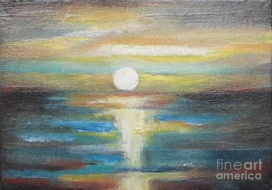 Ocean Painting - Ocean Sunset Abstract Seascape By Vesna Antic by Vesna Antic