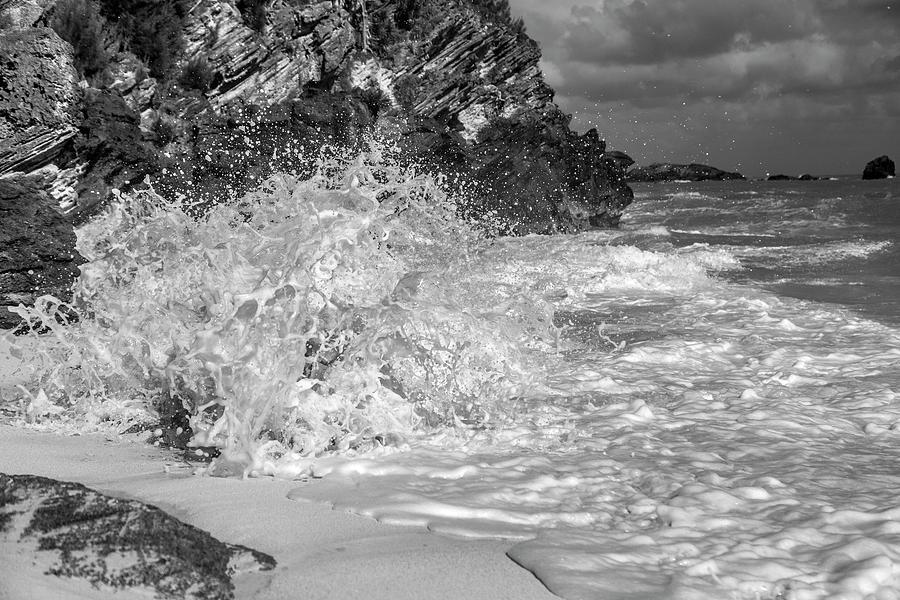 Bermuda Photograph - Ocean Wave Splash In Black And White by Betsy Knapp