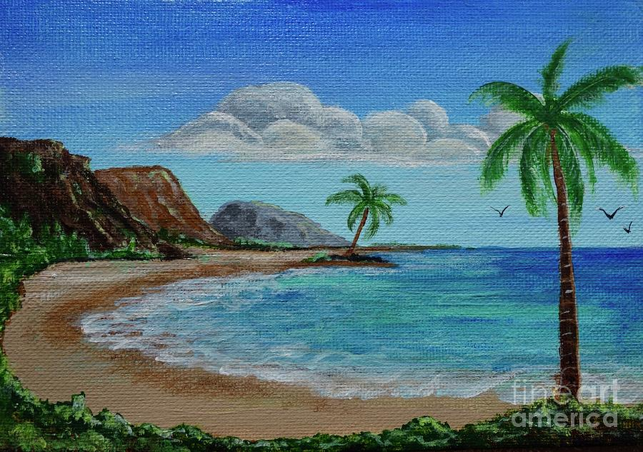 Ocean With Palm Trees by Jacqueline Athmann