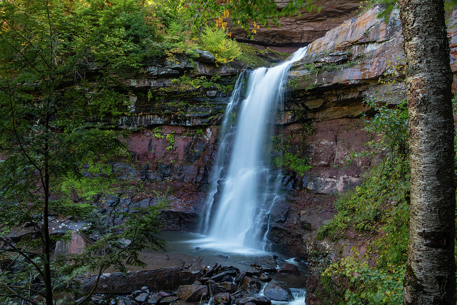 Waterfall Photograph - October Morning at Kaaterskill by Jeff Severson