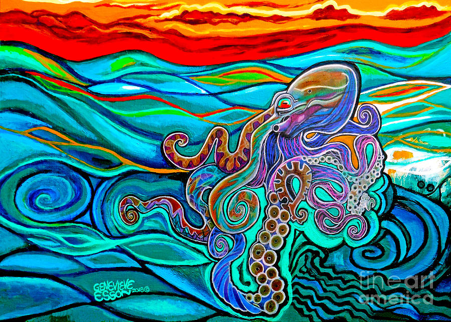 Animal Painting - Octopus At Sunset by Genevieve Esson
