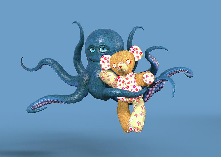 Octopus Digital Art - Octopus Blue And Bear by Betsy Knapp