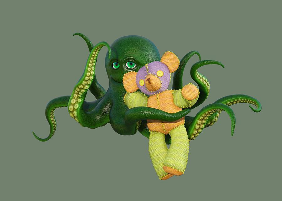 Octopus Digital Art - Octopus Green And Bear by Betsy Knapp