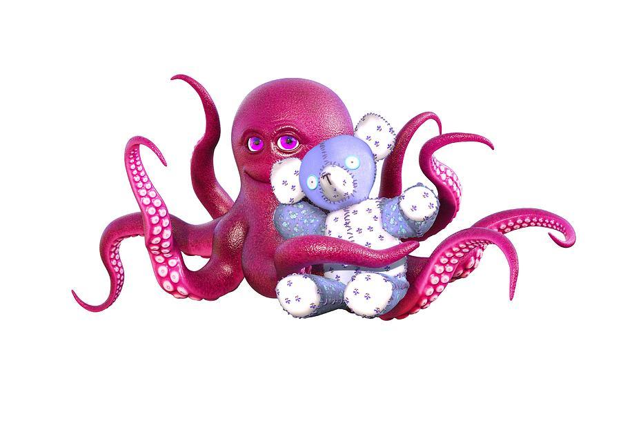 Octopus Digital Art - Octopus Pink With Bear by Betsy Knapp