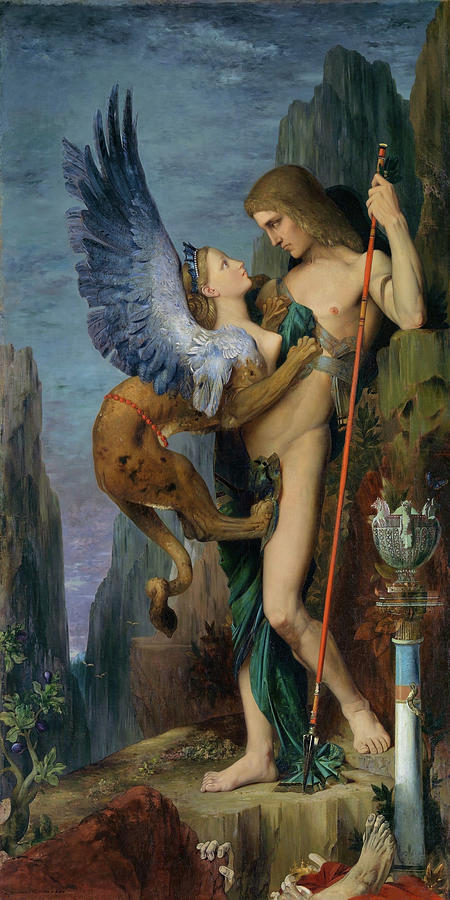 Gustave Moreau Painting - Oedipus And The Sphinx - Digital Remastered Edition by Gustave Moreau