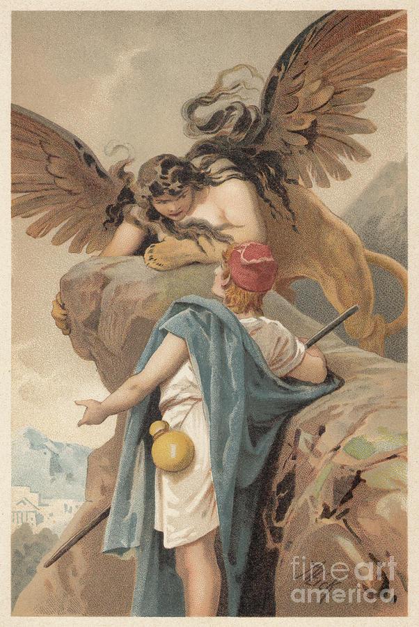 Oedipus And The Sphinx, Greek Digital Art by Zu 09