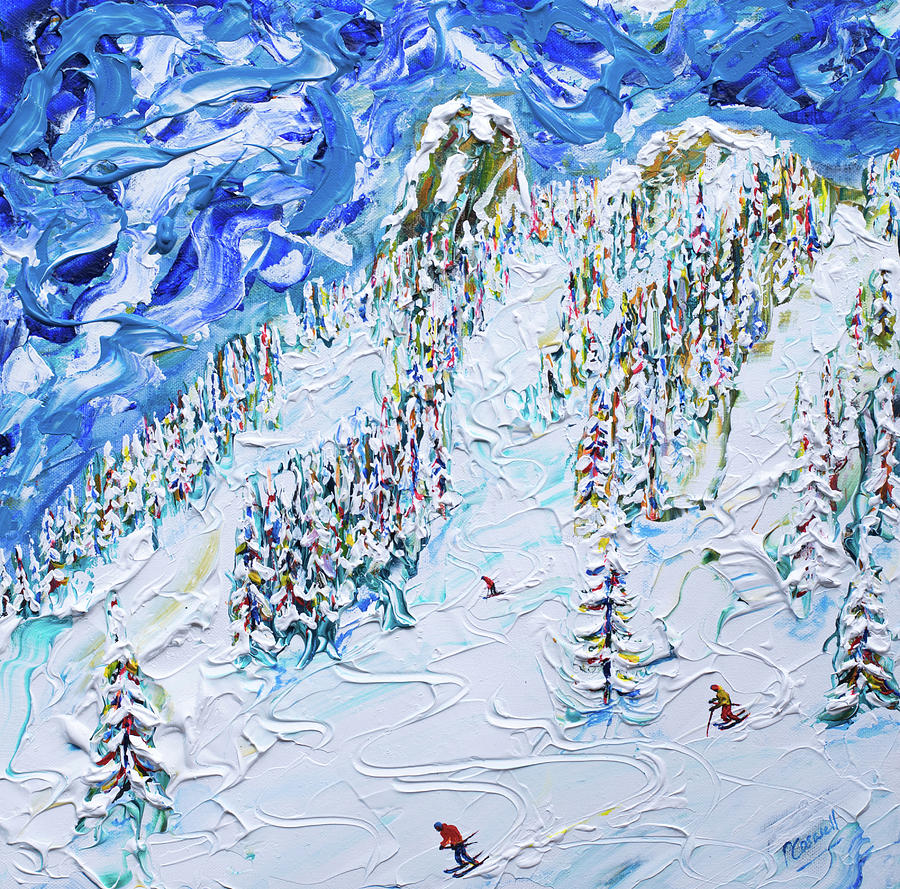 Off Piste Les Arcs Ski Print by Pete Caswell