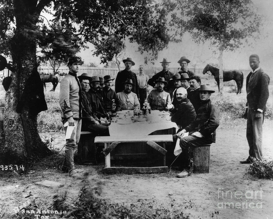 Officers Of Rough Riders Eating Photograph by Bettmann