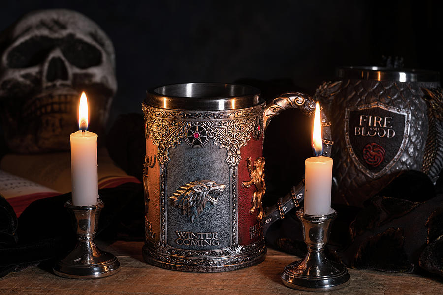 Official House Stark tankard from Game of Thrones series lit by  by Steven Heap