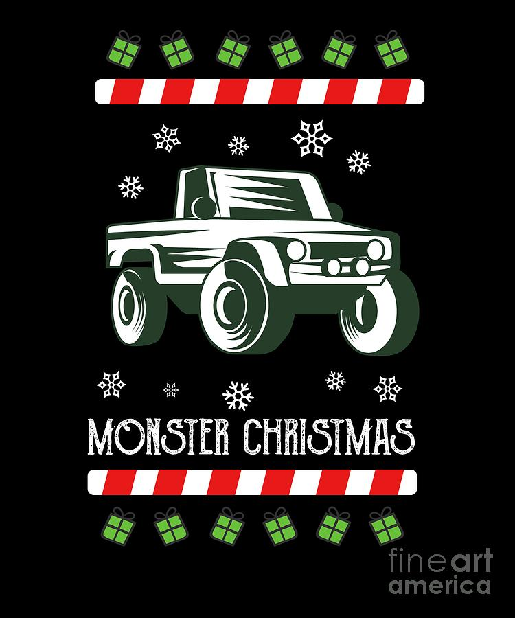 Car Digital Art - Offroad Monster Truck Christmas Xmas Winter Holidays by Tom Giant