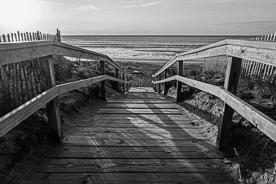 Ogunquit Photograph - Ogunquit Beach Footbridge At Sunrise Ogunquit Maine Black And White by Toby McGuire