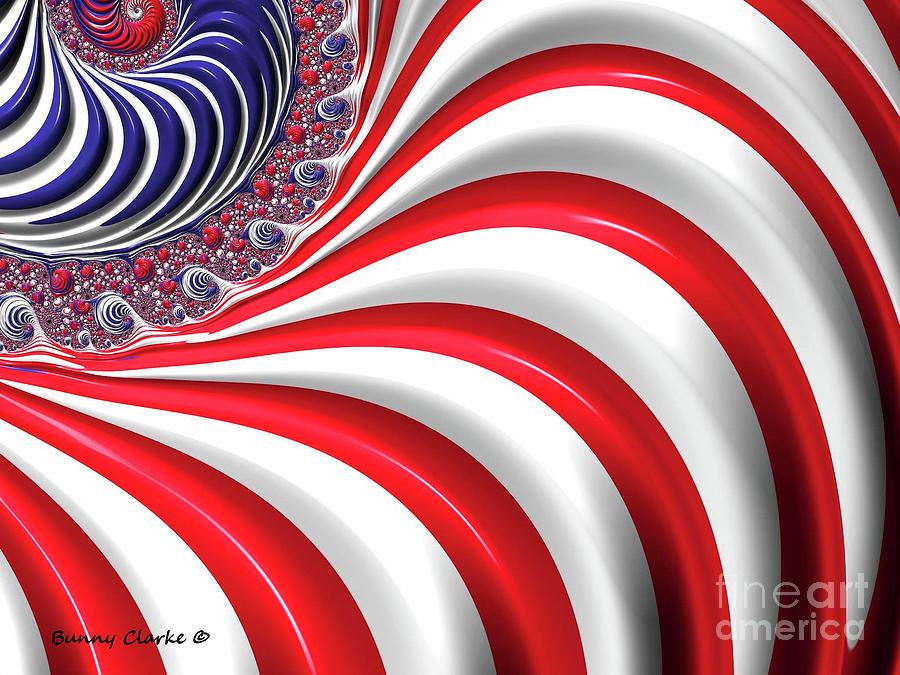 Fractal Digital Art - Oh, Long May It Wave by Bunny Clarke