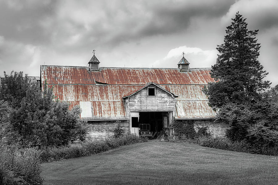 Ohio Barn in Black and White by Tom Mc Nemar