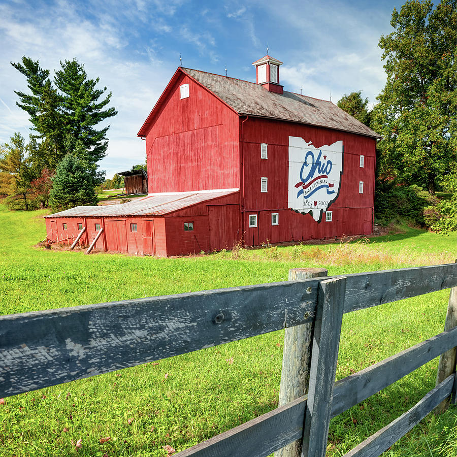 Ohio Bicentennial Barn And Fence - Square Format Photograph