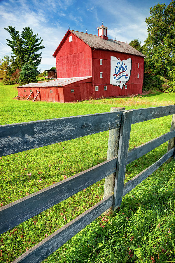 Ohio Bicentennial Red Barn Landscape - Columbus - Westerville Ohio Photograph