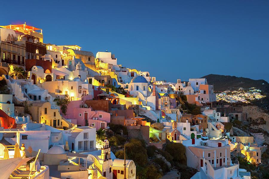 Oia At Dusk, Santorini, Greece Photograph by Chrishepburn