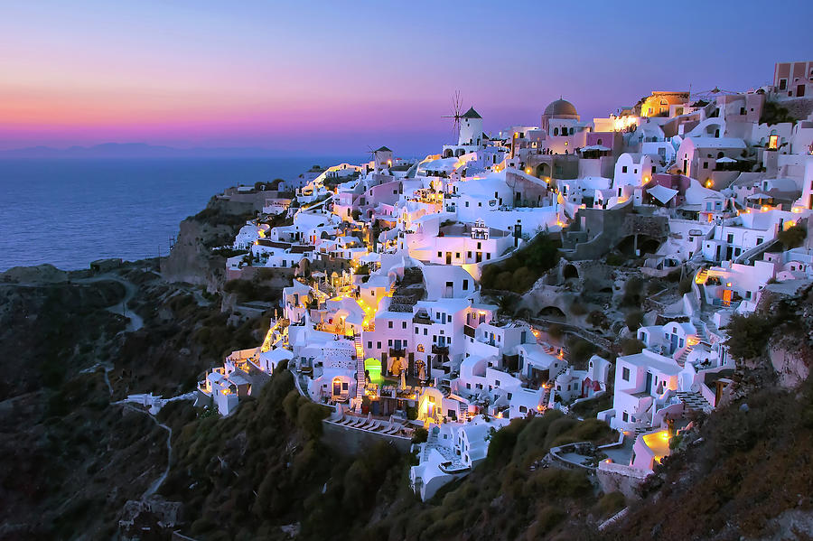 Oia Lights At Sunset Photograph by Greg Gibb Photography