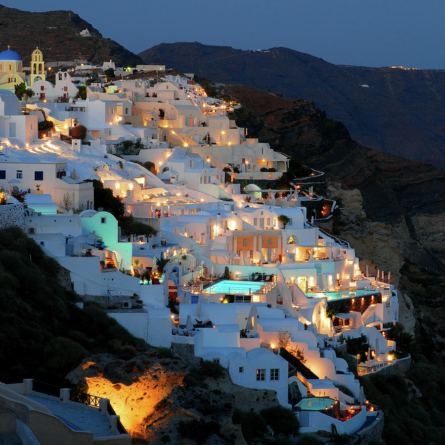 Oia, Santorini Greece At Night Photograph by Marcel Germain