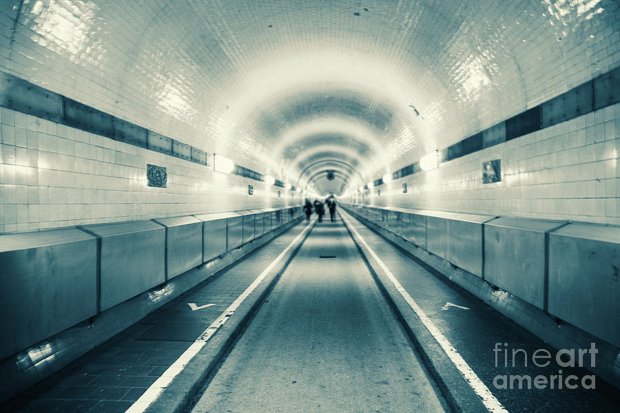 Old Elbtunnelin Hamburg monochrome by Marina Usmanskaya