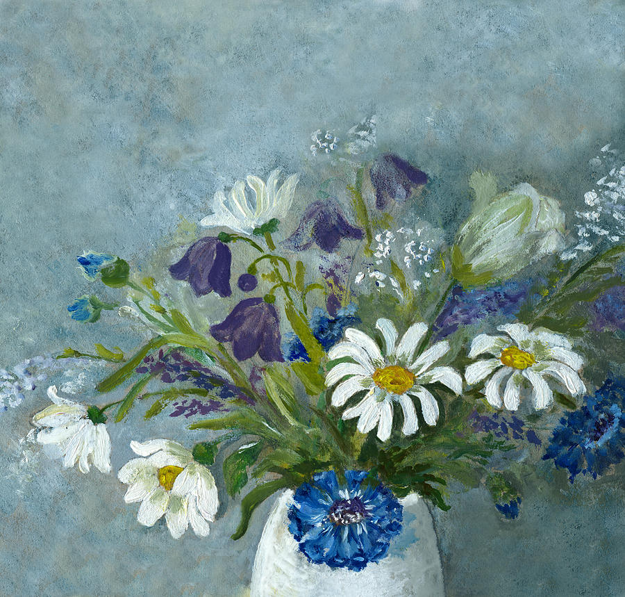 Oil Painted Wild Flowers On Blue Digital Art by Mitza