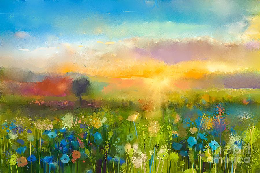 Beauty Digital Art - Oil Painting  Flowers Dandelion by Pluie r