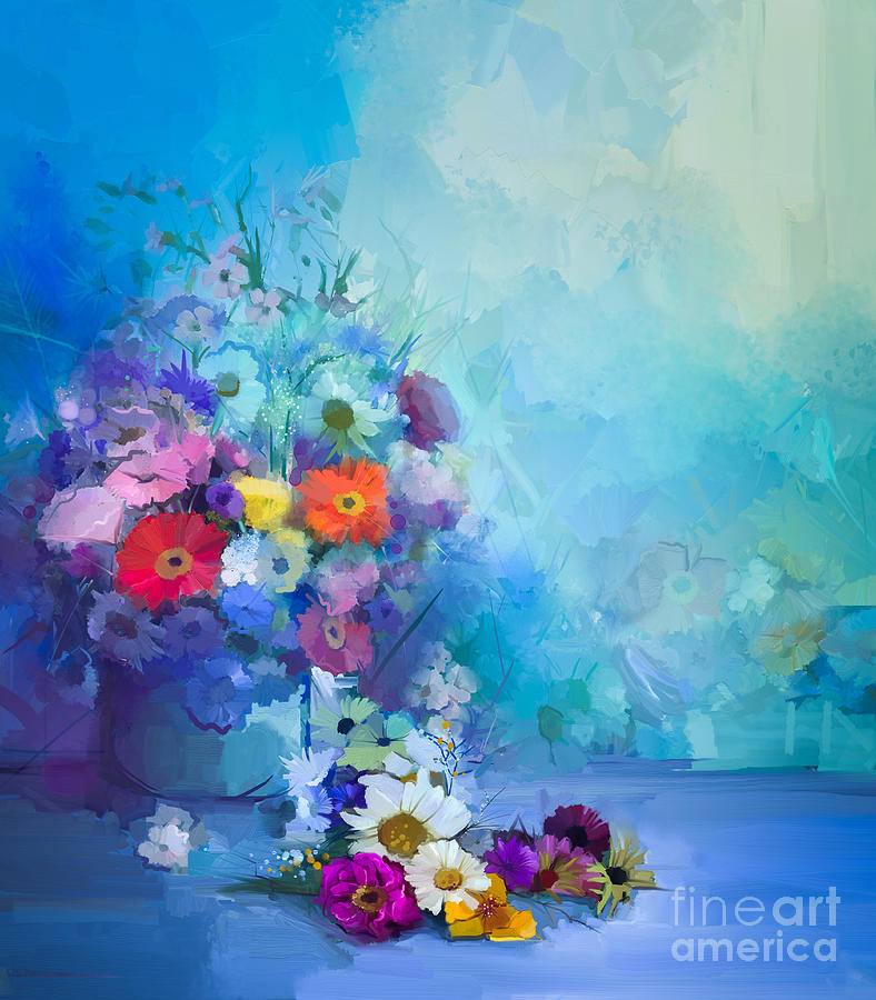 Oil Painting Flowers In Vase Hand Digital Art By Pluie R