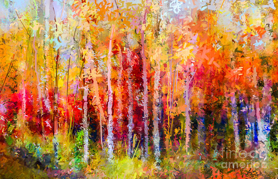 Forest Digital Art - Oil Painting Landscape, Colorful Autumn by Pluie r