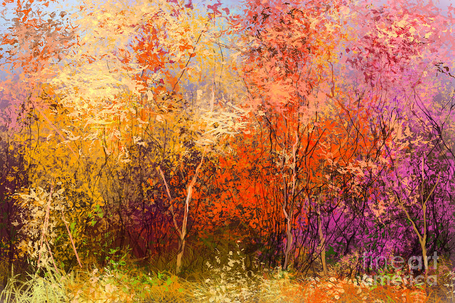 Paint Digital Art - Oil Painting Landscape - Colorful by Pluie r